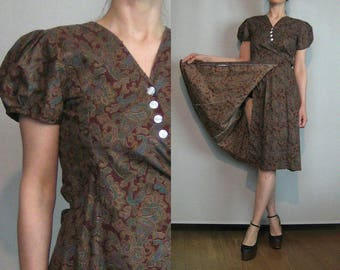70s TRUE WRAP Vintage Cotton Paisley Asymmetrical Buttons Wine Indian Summer Red Turquoise Green Belted Mini Dress xs Small Medium 1970s