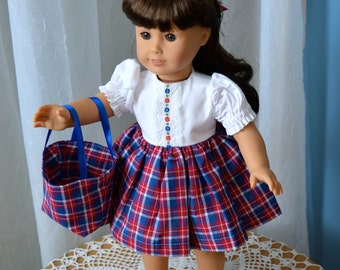 18 Inch Doll Clothes, Short Sleeved Dress With Plaid Gathered Skirt, Matching Plaid Panties, Plaid Totebag by SEWSWEETDAISY
