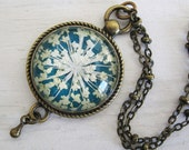 Real Pressed Flower Necklace -Turquoise Queen Annes Lace Vintage Inspired Necklace