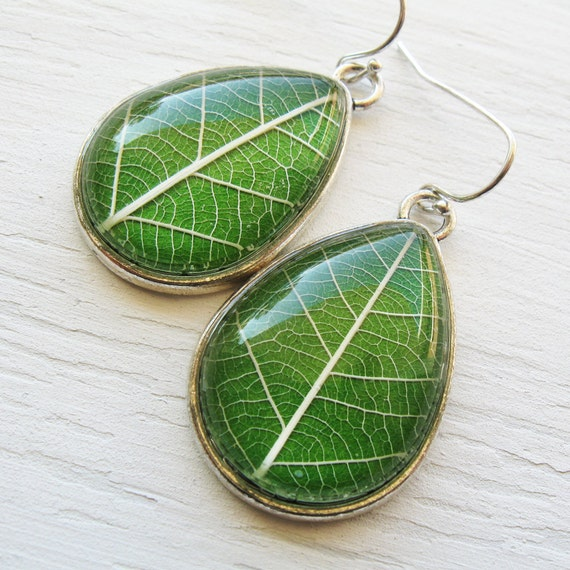 Real Botanical Earrings - Green and Silver Teardrop Pressed Leaf Earrings