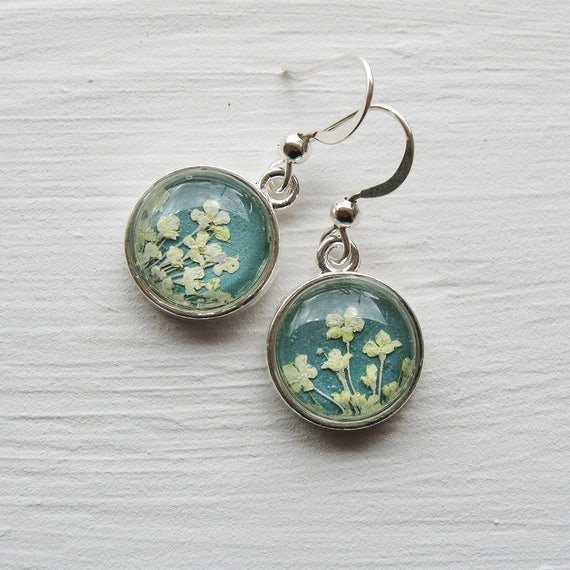 Real Pressed Flower Earrings - Tiny Round Pressed Real Queen Anne's Lace Earrings