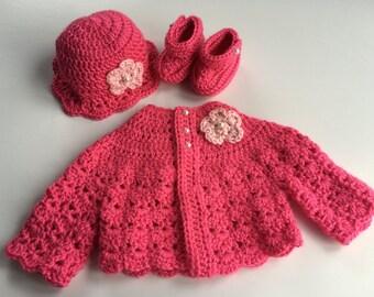 Crochet Baby Sweater Hat Booties Set Pink newborn
