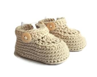 Baby Moccasin Loafers in Beige Merino Wool
