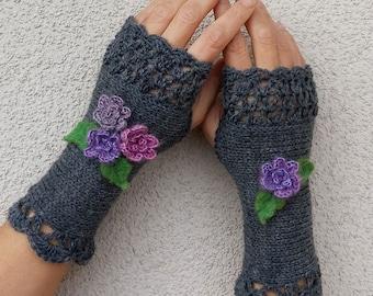 Flowers Knit Gloves Fingerless Crochet Warmers Gray Warm Knitted Mittens Womens Long Arm Warmers Wool Wrist Warmers Romantic Gift for Her