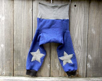 LARGE  Upcycled Merino Wool Longies Soaker Cover Diaper Cover With Added Doubler Blue/ Gray With Star Knee Patches Applique 12-24M