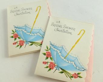 Bridal Shower Invitations Party Invites Lot of 10 Unused Mid Century Cards