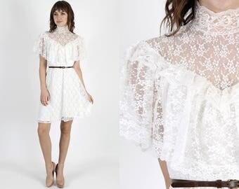 Lace Wedding Dress White Dress Boho Dress Prairie Dress Vintage 70s Bridesmaids Dress Wedding Dress Sheer Floral Lace Hippie Mini M