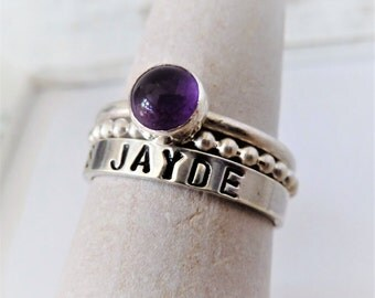 SET of 3 Name Stacking ring Sterling Silver Custom Name and Amethyst Birthstone. Aquarius. Stacking rings. Birthstone rings. Gift for her