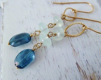 London blue Topaz and Aqua Chalcedony gold earrings. Chalcedony earrings. Dangle earrings. Topaz earrings. Ready to ship