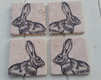Country Hare/Rabbit Stone Coaster Set of 4 Tea Coffee Beer Coasters