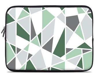 Geometric laptop sleeve, green, mint, gray, laptop cover, laptop case, to fit 10, 13, 15, 17 inch