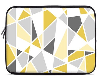 Geometric laptop sleeve, yellow, gray, laptop cover, modern laptop case, to fit 10, 13, 15, 17 inch