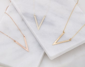 Triangle V Necklace, V Necklace, Simple Gold Necklace, Layering Necklace in Silver, Gold OR Rose Gold, Geometric Necklace, Gold Necklace