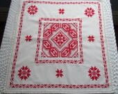 Vintage Tablecloth Cut Work Machine Embroidery White Red Small Accent Cloth Table Linen