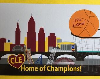 Cleveland basketball postcard,  #Allin216 postcard, Cleveland skyline