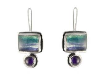 Lavender Fluorite and Amethyst Sterling Silver Earrings