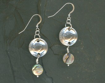 1977 Dime Earrings 40th Birthday Earrings 40th Anniversary Gift Coin Jewelry Paua Shell Beads 1977 Dimes Gift For Women Gift For Her
