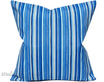 Blue Striped Pillow Cover - Outdoor pillow cover - 22X22 - indoor outdoor - polyester - blue - aqua - white
