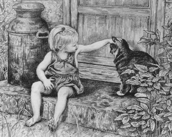 """Child and Cat Art Print of my original pencil drawing,""""Summer Afternoon"""", 11"""" X 14"""", Cat lovers  handsigned by artist Patty Fleckenstein"""