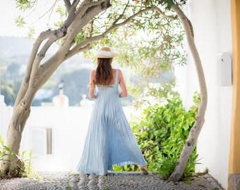 Long Vintage Blue Linen Dress /Blue Summer Dress/ High Waistline / Pure Linen /Beach Wedding Dress /Blue Linen Wedding Dress/Pale Blue Dress