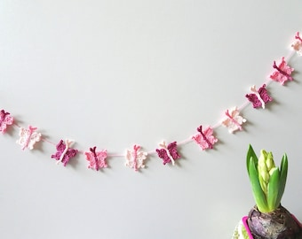 Butterflies garland -  new spring garland - crochet butterflies decor - Easter decor - pink butterflies - girls room decor  ~31.5 inches