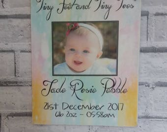 Personalized baby photo plaque wooden sign tiny feet and tiny toes