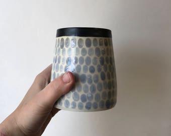 G L A C I E R: wheel thrown ceramic matcha tumbler