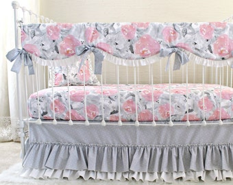 pink gray baby bedding pink clouds and silver linings watercolor floral baby girl bedding set
