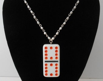 """Created by me with a 2"""" White Vintage Domino Tile Pendant + 17 1/2"""" Silver Plate Ball Chain Necklace"""