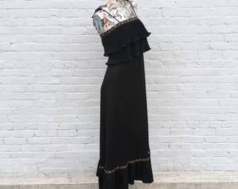 Vintage 70s Black Tie Spaghetti Strap Maxi Dress with Ruffle Hem