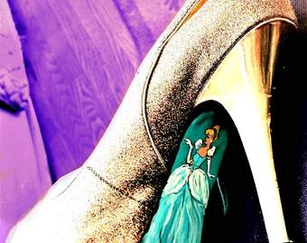Cinderella Shoes, Cinderella Slippers, Painted Shoes, Evening Shoes, Gold Shoes, Gold Cinderella Shoes, Custom Order