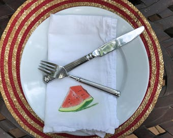 Watermelon Slice Illustrated Flour Sack Cotton Napkins Dining Table Decor Table Top Set of 2 Farm to table decor Dining napkins