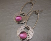 Sterling Silver Dangle Disk Earring with Pink Sapphire