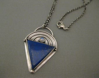 Lapis and Rainbow Moonstone Sterling Silver Pendant Necklace Handmade