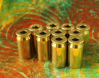 10 - 45 caliber Brass Bullet Shell Casings for your Steampunk Assemblage Jewelry - Deprimed Drilled Hole - 10-12MMP