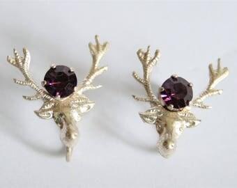 Vintage stag head earrings.  Scottish earrings. Sterling silver earrings. Screw back earrings. Deer earrings. Vintage jewellery