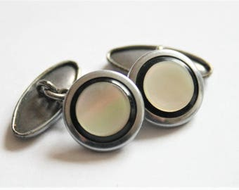 Vintage Mother of Pearl cufflinks.  Black and white cufflinks