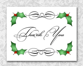 Christmas Holly Thank You Note Cards, Christmas Gift, Hostess Thank You, Thanks, Acknowledge A Gift, Express Appreciation, Red Green Black