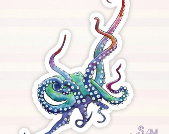 Rainbow Octopus vinyl sticker