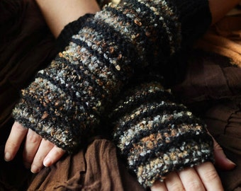 Wildling Knits Pair of Black/Brown/Gray Boucle Striped Arm Warmers Ready to Ship