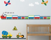 Train Decal, Boys Train Decal, Boys Plane Decal, Kids Room Decals, REUSABLE Kids Fabric Wall Decals, WD471