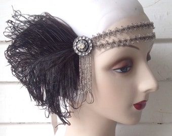 double banded flapper headdress in silver and black 1920's gatsby era headpiece with 1930's rhinestones and humane ostrich feathers-
