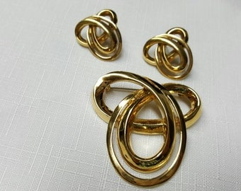 Gold Knots Butler Fifth Ave Canadian made Brooch and Pierced Earrings 14kt posts