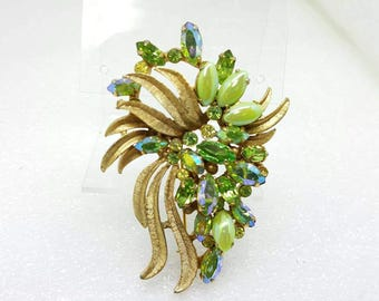 Denbe signed Brooch Mint Greens and Jonquil Gorgeous Style Swag Art Deco Detailed