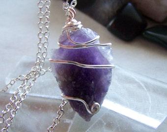 Purple Amethyst Crystal Arrowhead Pendant