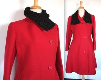 Vintage 1960s Coat // 60s Red Wool Coat with Black Persian Lamb Collar Trim // Prete A Porter Paris // Winter Princess Coat
