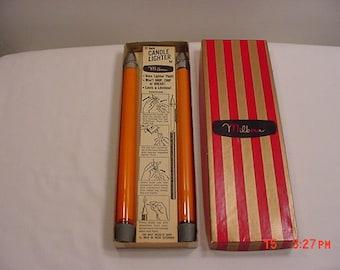 "Vintage Milbern  12"" Orange Refillable Candle Lighter In Original Box  17 - 182"