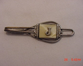 Vintage Mother Of Pearl Initial J Tie Clip  17 - 405