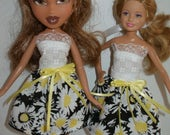"""Handmade 9"""" little sister fashion doll clothes - black, yellow and white floral print dress"""