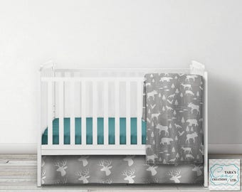 Woodland Nursery Set - Crib Set Custom - Deer Bedding - Moose Blanket - Antler Bedding - Moose Nursery - You Choose Fabrics and Options